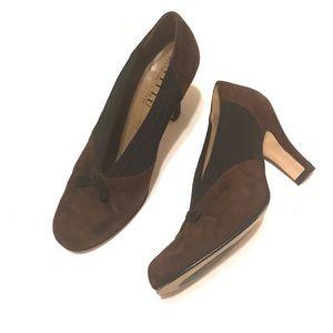 ANYI LU Handmade Brown Suede Vintage Inspired Heel